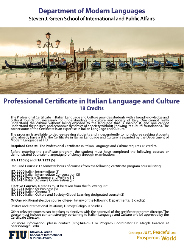 Certificate In Italian Language And Culture Department Of Modern